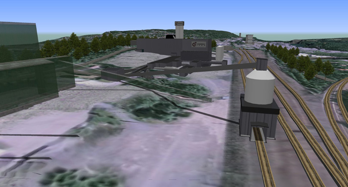 Marshalling yard (simplified view) with loading station at Grängesberg, according to Pre-Feasibility Study